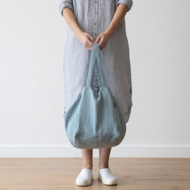 Linen Beach Bag Stone Blue Stone Washed
