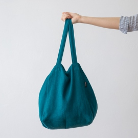 Linen Beach Bag Marine Blue Lara
