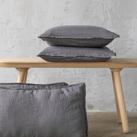 Steel grey Linen Cushion Cover Stone Washed