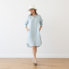 Blue Melange Linen Shirt Dress Paula