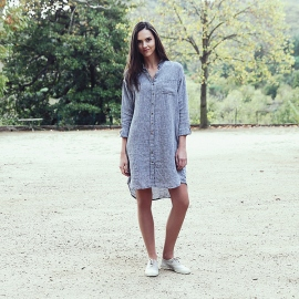 Silver Melange Linen Shirt Dress Paula