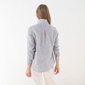 Navy Stripe Linen Shirt Fabio