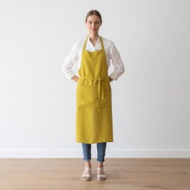 Stone Washed Linen Back Cross Apron Citrine