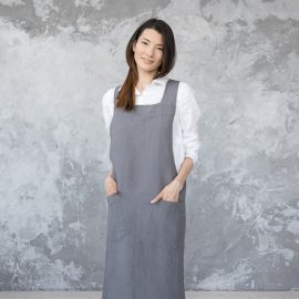 Stone Washed Linen Back Cross Apron Steel Grey