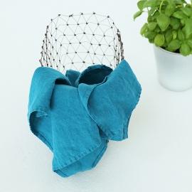 Set of 2 Stone Washed Linen Tea Towels Marine Blue