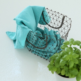 Set of 2 Stone Washed Linen Tea Towels Aqua