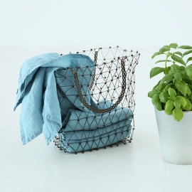 Set of 2 Stone Washed Linen Tea Towels Stone Blue