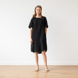 Black Linen Dress Luisa