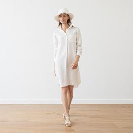 Linen Shirt Dress White Camilla