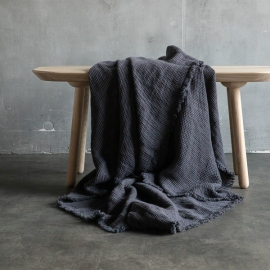 Grey Linen Throw with Fringes Washed Waffle