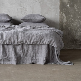 Grey Stone Washed Herringbone Bed Linen Duvet