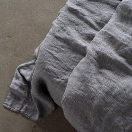 Grey Stone Washed Bed Herringbone Linen Flat Sheet
