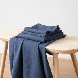 Indigo Linen Bath Towels and Hand Towels Set Washed Waffle