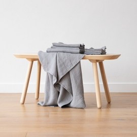 Graphite Linen Bath and Hand Towels Set Washed Waffle