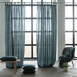 Linen Curtain Panel with Ties Balsam Green Stone Washed