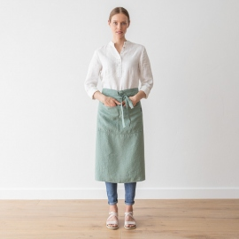 Chef's Apron Spa Green  Stone Washed Linen