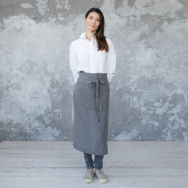 Chef's Apron Steel Grey Stone Washed Linen