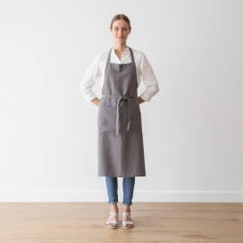 BIB Apron Steel Grey Stone Washed Linen