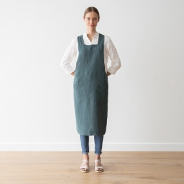 Stone Washed Linen Back Cross Apron Balsam green