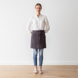 Cafe Apron Grey Stone Washed Linen