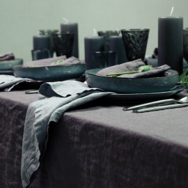 Stone Washed Linen Tablecloth Grey
