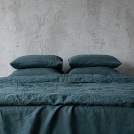 Balsam Green Linen Bed Set Stone Washed