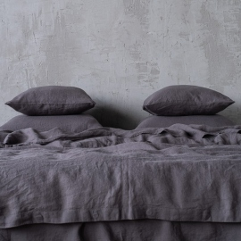 Grey Linen Bed Set Stone Washed