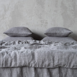 Grey Linen Bed Set Stone Washed Herringbone