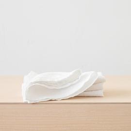 Stone Washed Optical White Linen Napkin