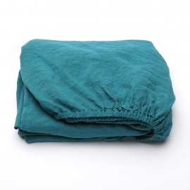 Sapphire Linen Fitted Sheet Stone Washed