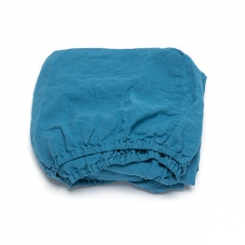 Sea Blue Linen Fitted Sheet Stone Washed