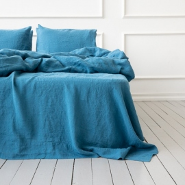 Sea Blue Linen Pillow Case Stone Washed