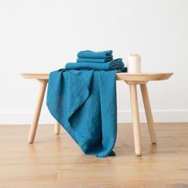 Sea blue Linen Bath and Hand Towels Set Washed Waffle