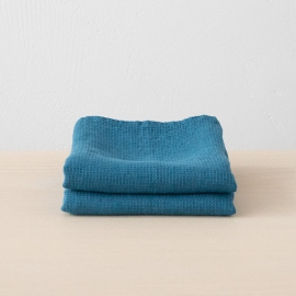 Sea blue Linen Bath and Hand Towels Set Washed Waffle