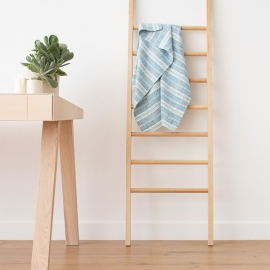 Linen Bath Towel Marine Blue Multistripe