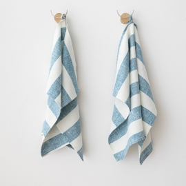 Set of 2 Marine Blue Linen Hand Towels Philippe