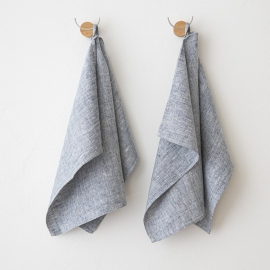 Set of 2 Indigo Linen Hand  Towels Francesca