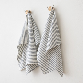 Set of 2 Indigo Linen Hand  Towels Brittany