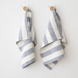 Set of 2 Indigo Linen Hand Towels Philippe