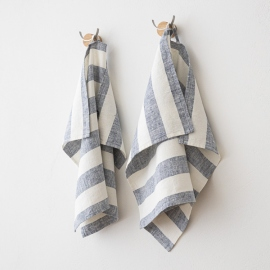 Set of 2 Indigo Linen Hand Towels Philippe