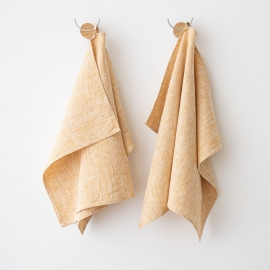Set of 2 Gold Linen Hand  Towels Francesca