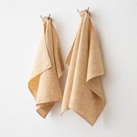 Set of 2 Gold Linen Hand  Towels Francesca