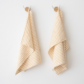 Set of 2 Gold Linen Hand  Towels Brittany