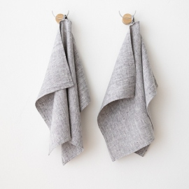 Set of 2 Graphite Linen Hand  Towels Francesca