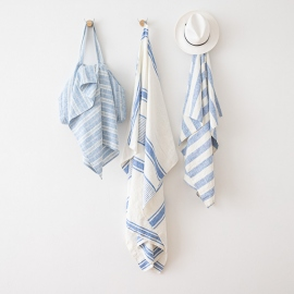 Linen Beach Towel Tuscany Blue