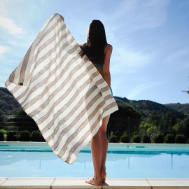 Linen Beach Towel Philippe Grey
