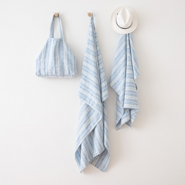 Linen Beach Towel Multistripe Blue