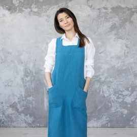 Stone Washed Linen Back Cross Apron Sea Blue