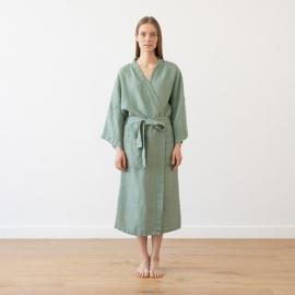 Spa Green  Linen Bath Robe Washed Waffle