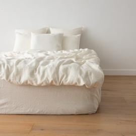 Off White Washed Bed Linen Duvet Crushed